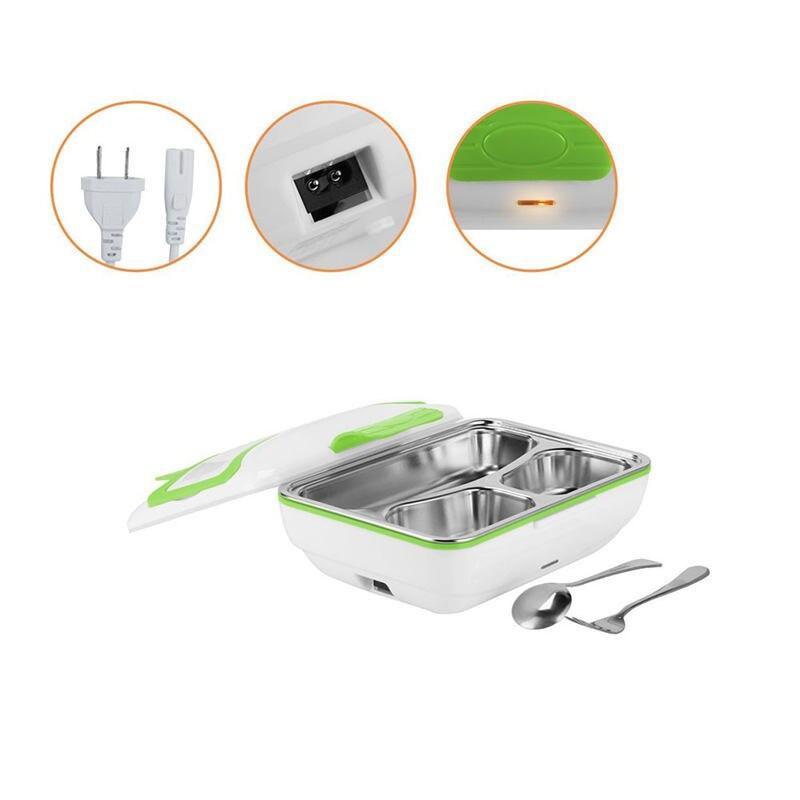Caja de almuerzo de calefacción eléctrica de acero inoxidable de alta calidad 220 V calentador de comida portátil 1,1 L fácil de limpiar la oficina de cocina del hogar coche 1 Set-in Fiambreras from Hogar y Mascotas    1