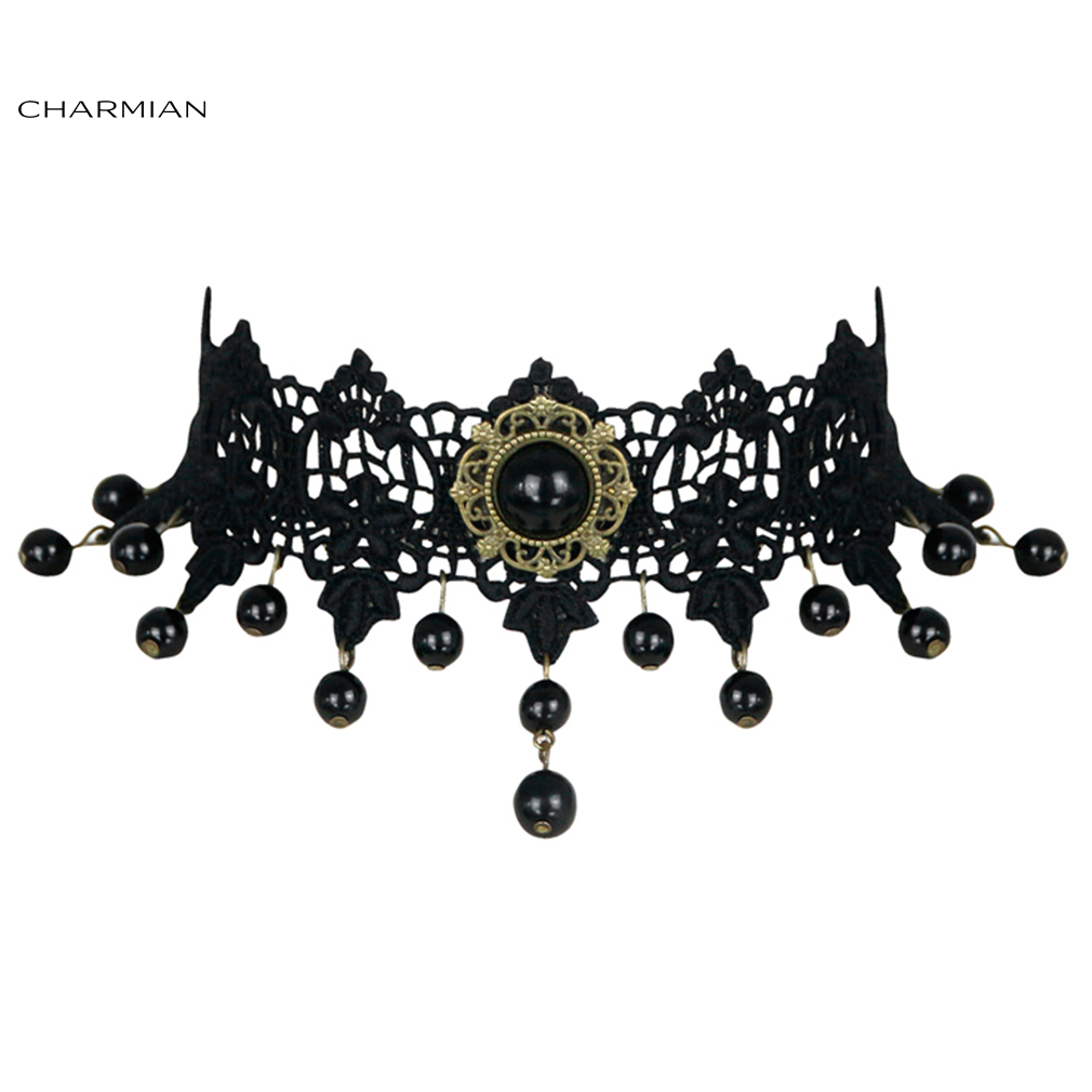 Charmian Gothic Vintage Punk Vampire Bead Gem Lace Choker Necklace Accessories