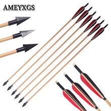 6/12 pièces tir à larc traditionnel têtes larges flèches en bois en plein air arc et flèche chasse tir pratique à la main flèche en bois