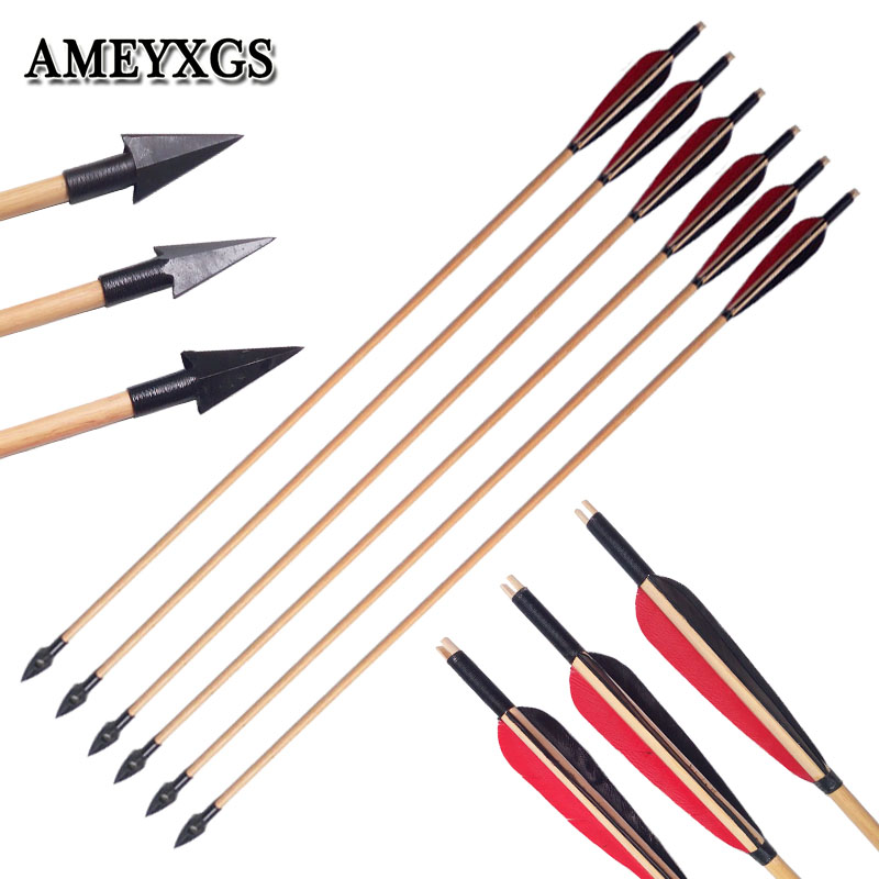 6/12pcs Archery Traditional Broadheads Wooden Arrows Outdoor Bow And Arrow Hunting Shooting Practice Handmade Wood Arrow-in Bow & Arrow from Sports & Entertainment