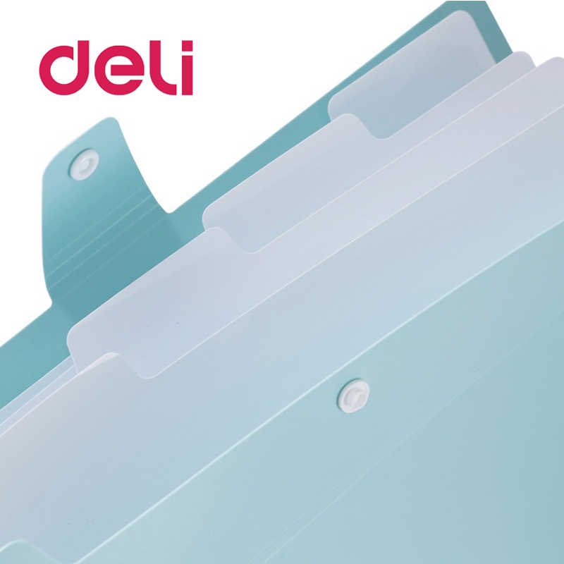 Deli A4 Paper Expanding Wallet Document Filing Stationery Bag School Office Supply Durable Briefcase PVC File Folder Stationery