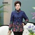 XJXKS novo 2016 jaqueta de inverno de algodão mulheres plus size XL-5XL soltos tamanho grande de algodão acolchoado inverno mulher casaco quente