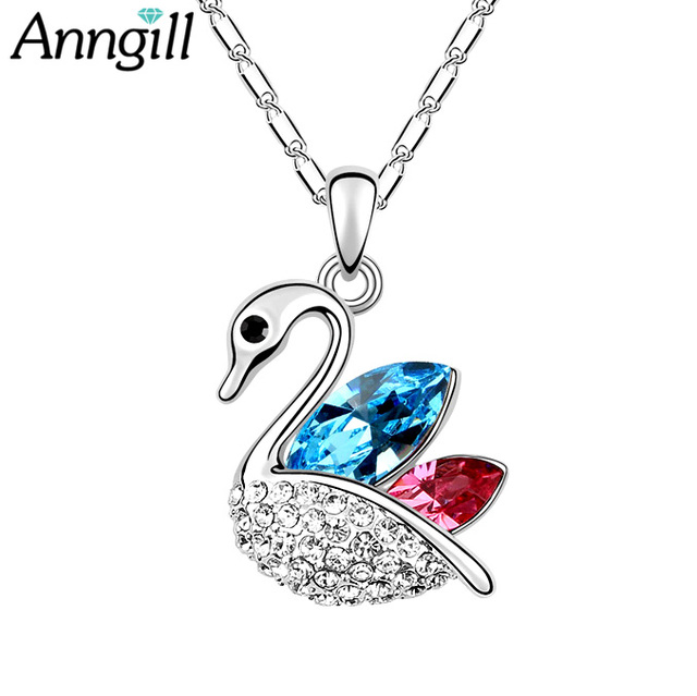 ANNGILL 2017 New Design Crystals from Swarovski Women Swan Necklace Elegant Necklaces & Pendants Fashion Animal Jewelry