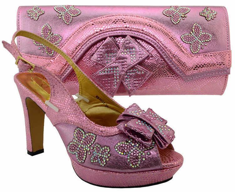 Elegante teal scarpe africani partita borsa set con strass della signora bowtie scarpe e borsa MM1031, tacco 11.5 CENTIMETRI