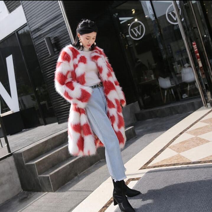 Imitation Européen Longue Renard Fourrure Faux Femmes Style Manteau Lâche Et Américain 2018 De Épaississement vY6gf7by