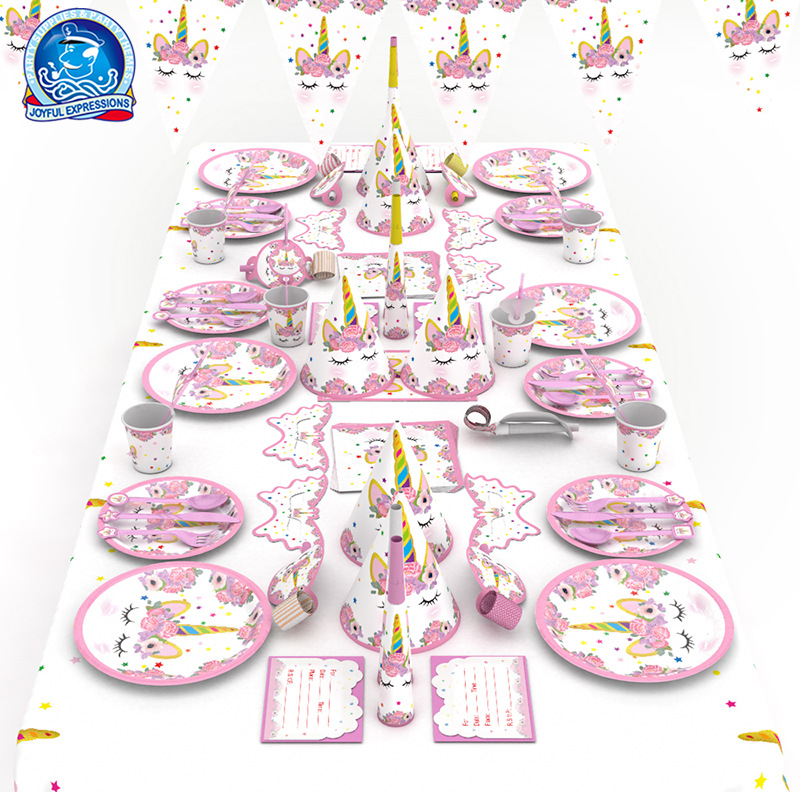2018 new cartoon pink theme birthday party wedding decoration tableware set children kids party supplies