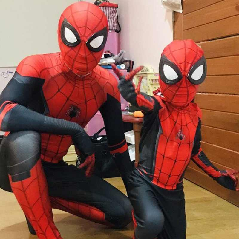 Spider Man Far From Home Jumpsuit Cosplay Costume Polyester Peter Parker Zentai Bodysuit Adult Kids Web Shooter Spiderman Props