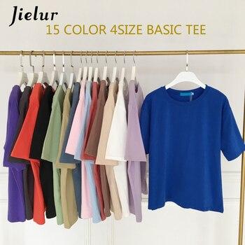 Jielur Tee Shirt 15 Solid Color Basic T Shirt Women Casual O-neck Harajuku Summer Top Korean Hipster White Tshirt S-XL Dropship 1