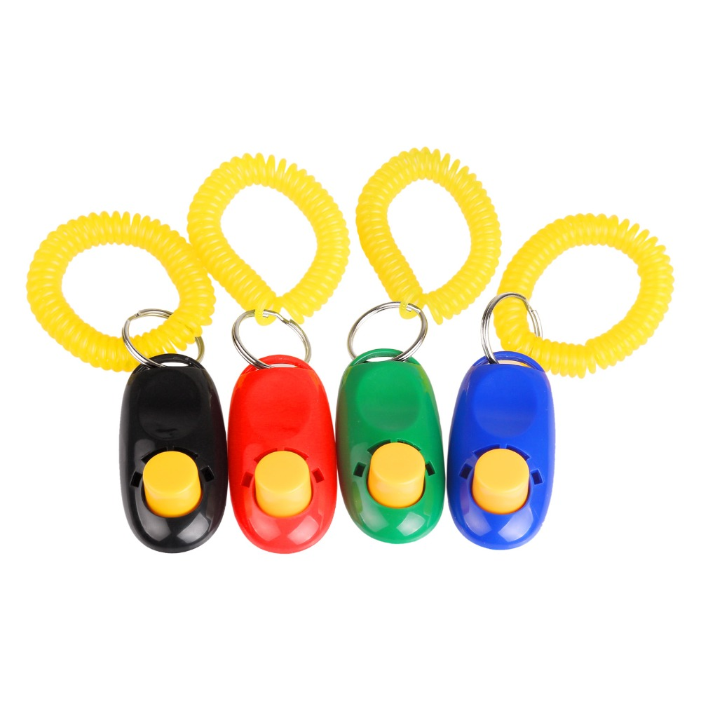 4 Colors Pet Training Clicker Click Agility Trainer Aid Wrist Training Dog Clicker with Wrist Strap Pet Horse Supplies