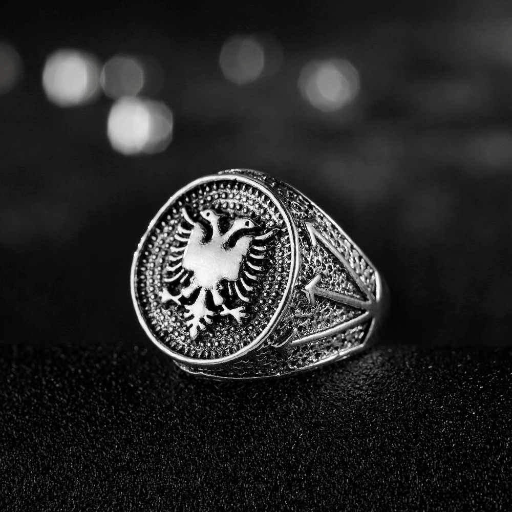 Vintage Punk Style Alloy Albania Double Head Eagle Silver Color Men Hip Hop Jewelry Ring