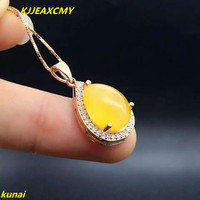 KJJEAXCMY boutique jewels 925 silver Natural amber pendant necklace lady send shipping