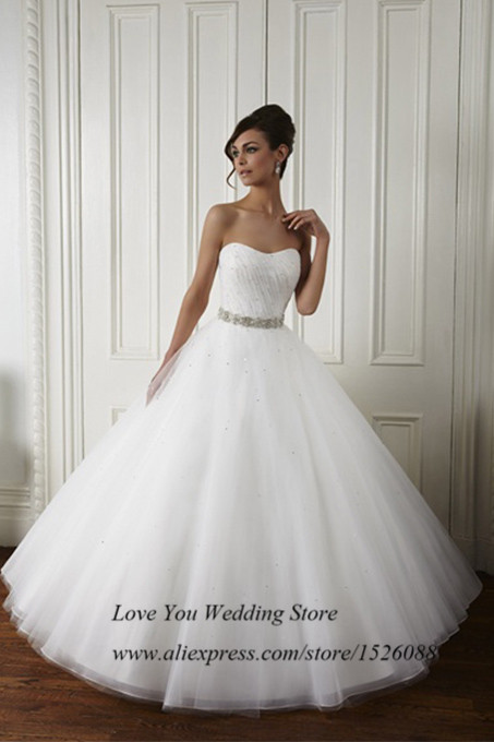 c9ee18ee496f Pure White Brand China Wedding Dresses 2015 Vestidos de Noivas Ball Gown  Wedding Gowns Beaded Tulle Robe de Mariee-in Wedding Dresses from Weddings  & Events ...
