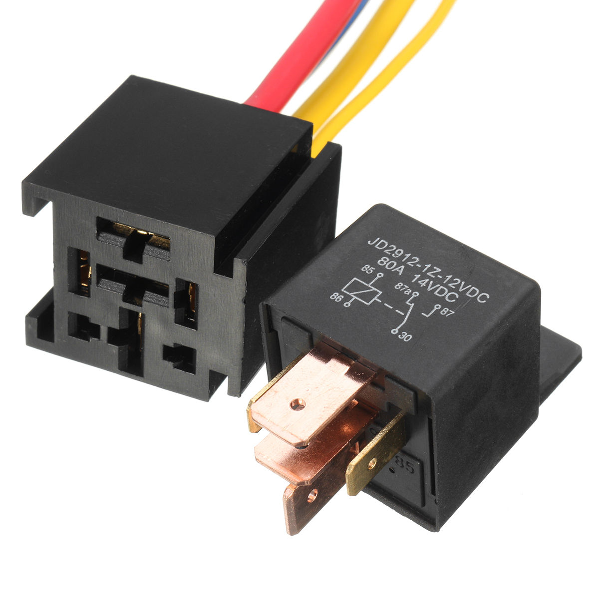 Mayitr Waterproof Black Car Relay 12v 80a 5pin Dc Amp Spdt Dpdt Normally Open 1pc Practical Socket Starter Automotive