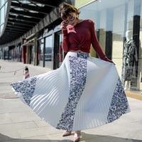 Vintage Imprimer Élastique Taille Haute Coréenne Femmes Jupes Longues Noir Blanc Maxi Plissée Jupe Saias Fadalas