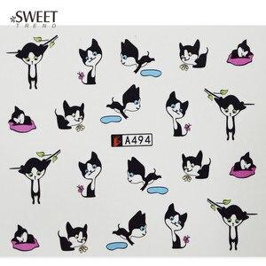 Image 4 - 12 デザイン 1 でかわいい猫パターン透かしデザインネイルアートステッカー水転写デカール美容釘装飾のため LA493 504