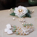 Yin Mu Dan White Glaze Petal Flower Hair Stick Vintage Chinese Hanfu Costume Accessories Green Jade Leaf Long Tassel Hair Stick