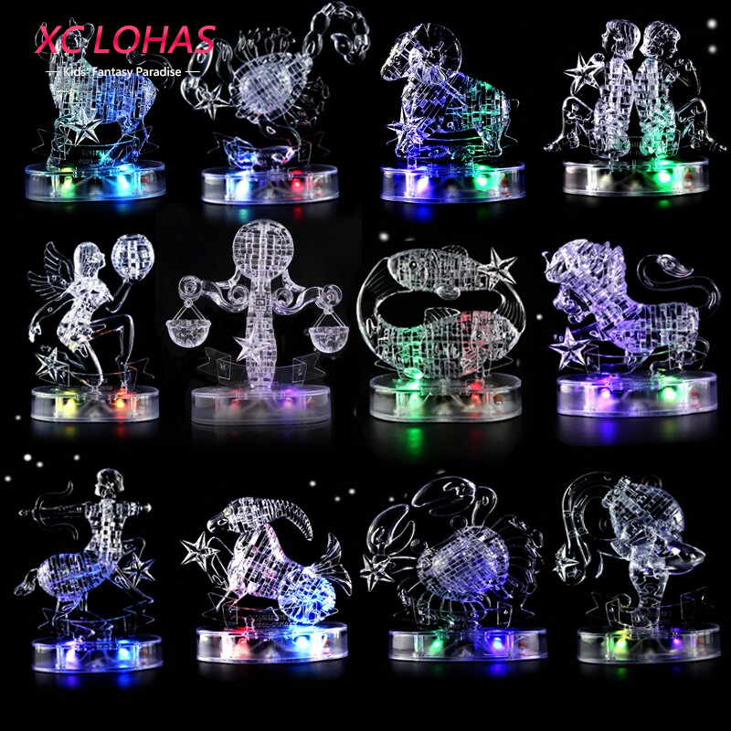 12 Constellation 3D Crystal Puzzle DIY Adult Puzzle Jigsaw With LED Light Delicate Home Decor Lucky Gifts For Women носки stance носки ж run womens speed of light ss17
