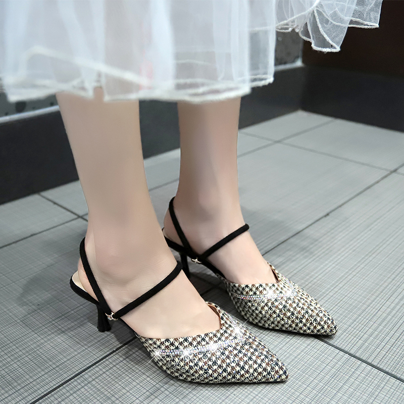 HKCP New slipper women wear fashion thin heel sandals outside summer baotou half slipper high heel Korean version C111 in Slippers from Shoes