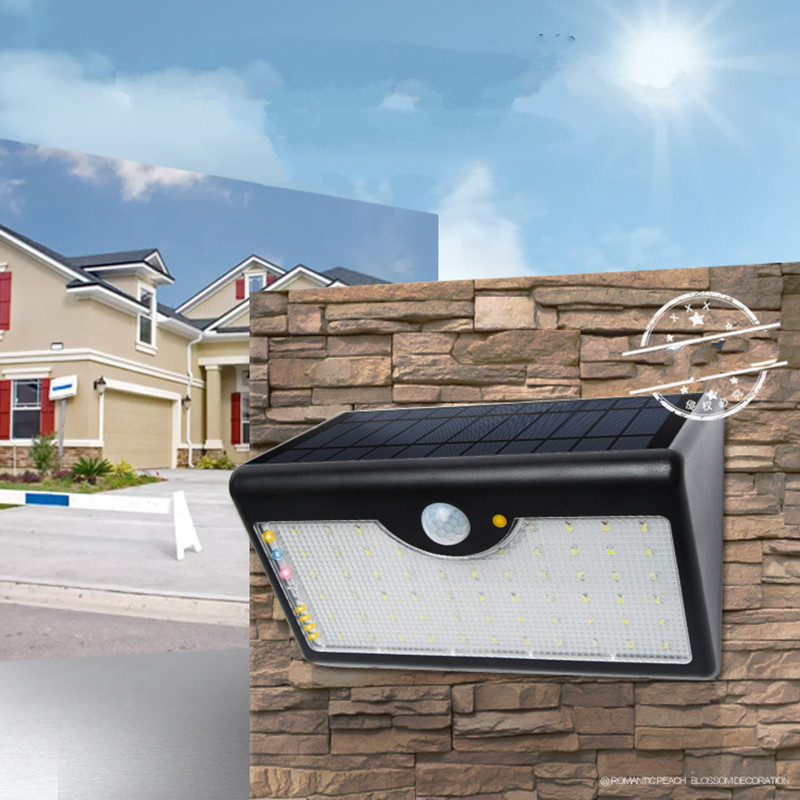60 LED Solar Panel Wall Porch Light Super Bright Waterproof Landscape Garden Outdoor Street Stairs Lamp Remote Control Garland 10pcs remote control solar panel powered road light 20w 30w 50w led street light outdoor garden path spot wall emergency lamp
