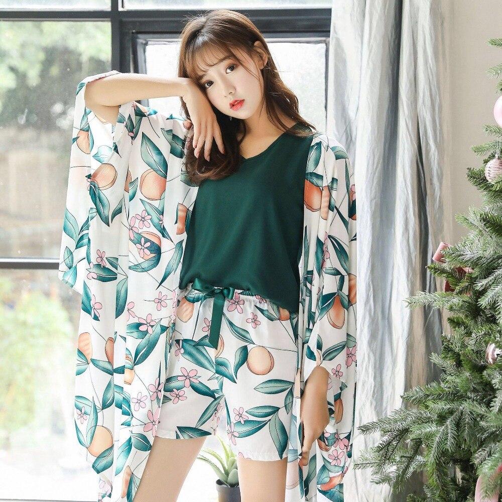 Image 5 - Women Cotton Sleepwear 4 Pieces Pyjamas Sexy Pajamas Sleep Lounge Pijama Night Home Clothing Pajama Suit Pijama Femme M XL-in Pajama Sets from Underwear & Sleepwears