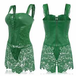 Image 3 - Womens Sexy  Lace Leather Corset Adult Bustier Gothic Dress Lace Up Zipper Corset Plus Size
