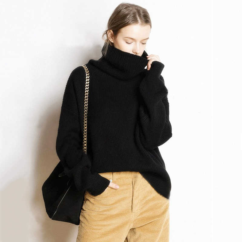Turtleneck Knitted Cashmere Sweater Female Winter Casual Streetwear Pullovers Warm Loose Sweaters Fashion 2018 Women Plus Size