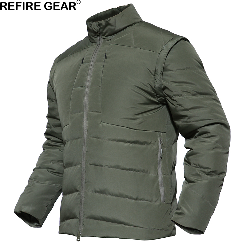 ReFire Gear Winter Warm Outdoor Padded Jacket Men Waterproof Hiking Camping Jacket Sleeves Detachable Outerwear Parka Coat