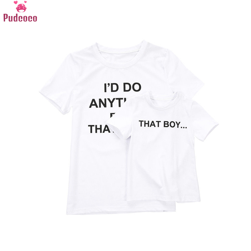 Pudcoco 2018 Household Outfits Garments Mom Son Youngsters Matching T-Shirt Womens Boys Tops Household Look Matching Outfits