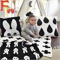 2016 Новорожденных Вязаные Одеяла Черный Белый Крест Одеяло Постельные Принадлежности Одеяло Пеленать Кролик Майо Ребенок Полотенце Игровой Коврик Набор