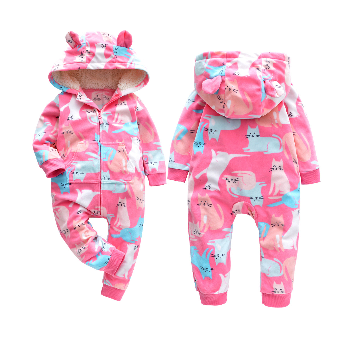 Baby clothes fleece zipper up toddler girl clothes winter jumpsuit infants toddler   romper   hood baby girl stuff spring boy outfit