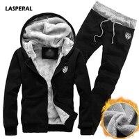 LASPERAL Plus Size Winter Thicken Men Sports Suit Tracksuit Hooded Sportswear Male Fleece Jacket Elastic Waist
