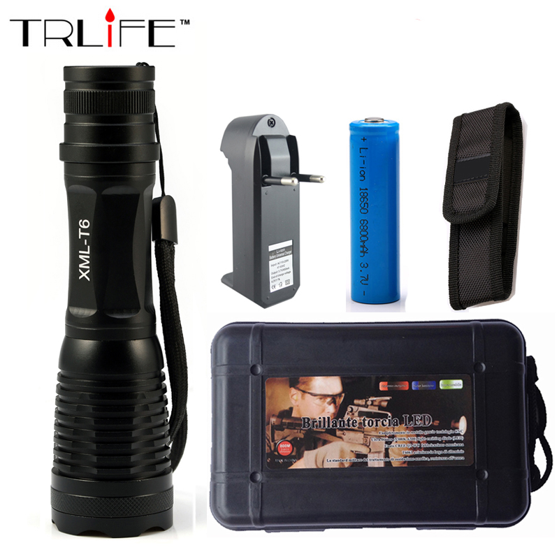 6000 Lumens Flashlight Zoomable/Adjustable LED CREE XM-L T6 Tactical Flashlight Zoom Torch +1x 18650 Battery +Charger lanterna cree xm l t6 4000lm tactical flashlight torch zoom linternas led flashlight 3xaaa or 1x 18650 rechargeable battery z45