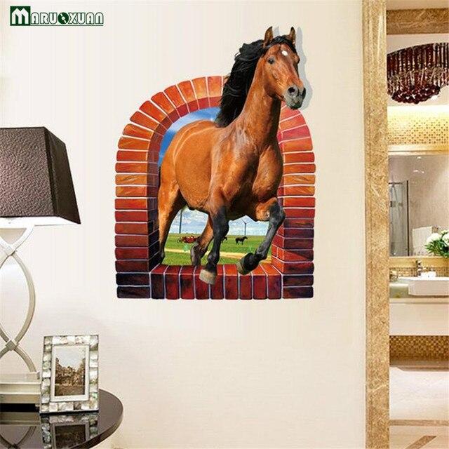 Adesivi Murali Finte Finestre.Us 5 89 Yunxi 3d Horse Finte Finestre Adesivi Camera Da Letto Soggiorno Tv Sfondo Decorazione Impermeabile Adesivi Murali 58 79 Cm In Yunxi 3d Horse