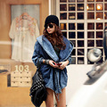 [Twotwinstyle] 2017 outono cardigan windbreaker lace up bandage capa com capuz denim jean jacket women brasão oversized nova moda