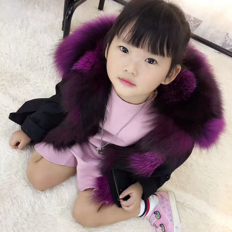 Autumn Winter Children Fox Fur Clothes Girls Army Green Jacket Large Raccoon Fur Kids Outerwear Girls Fur Coats TZ205 winter fashion kids girls raccoon fur coat baby fur coats