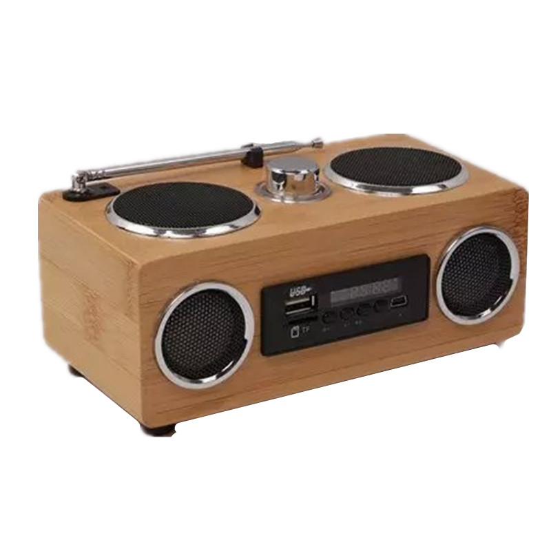 Buy mini portable bamboo wood boombox fm radio receiver eco friendly hand made - Porta cd design ...