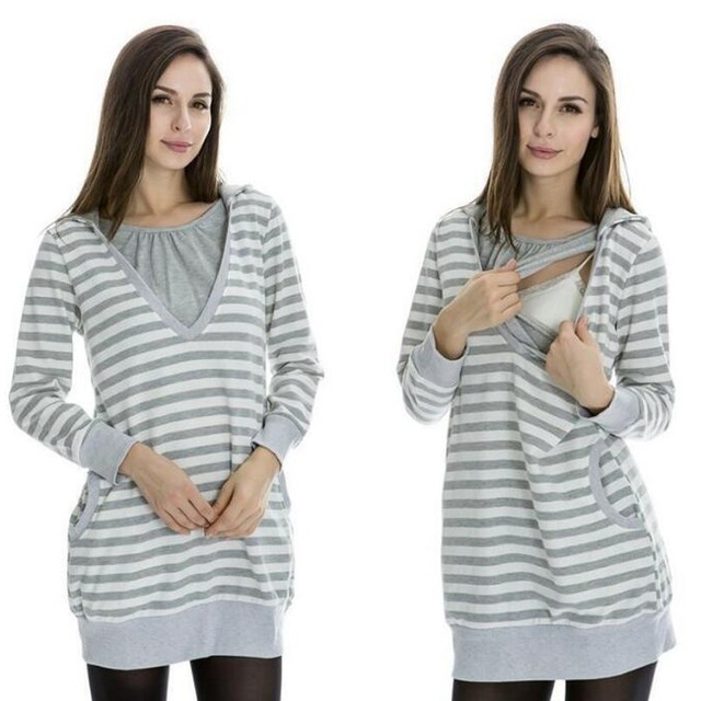 765e33e6d1106 Pregnancy Clothes Long Sleeve Unlined Nursing Tops Blouses Striped Maternity  Hoodie Breastfeeding Clothing For Pregnant Women