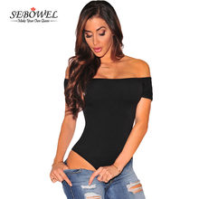 SEBOWEL Sexy mujeres fuera del hombro Bodysuit sólido mamelucos Slash Neck Mini Body Playsuit ceñido mono breve Bodysuit(China)