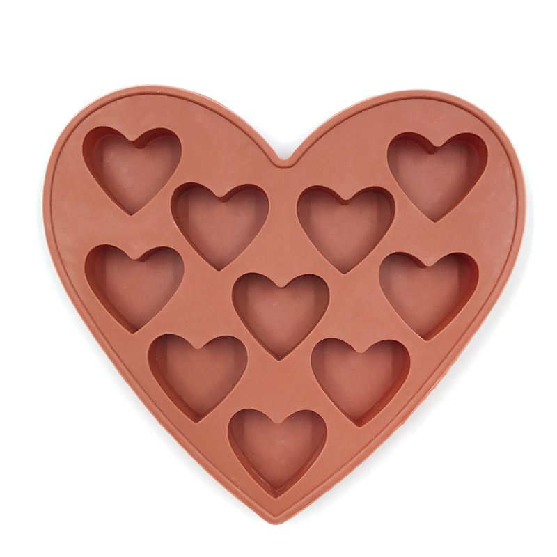 Wholesale DIY handmade soap mold 10 hearts shape ice lattice mold chocolate soap silicone molds in Soap Molds from Home Garden