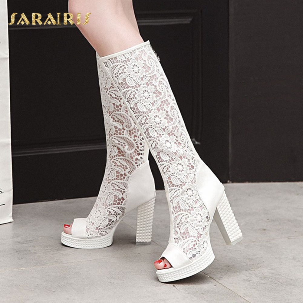 SARAIRIS Breathable Lace Upper Chunky High Heel Open Peep Toe Platform Summer Shoes Woman Knee BootsSARAIRIS Breathable Lace Upper Chunky High Heel Open Peep Toe Platform Summer Shoes Woman Knee Boots