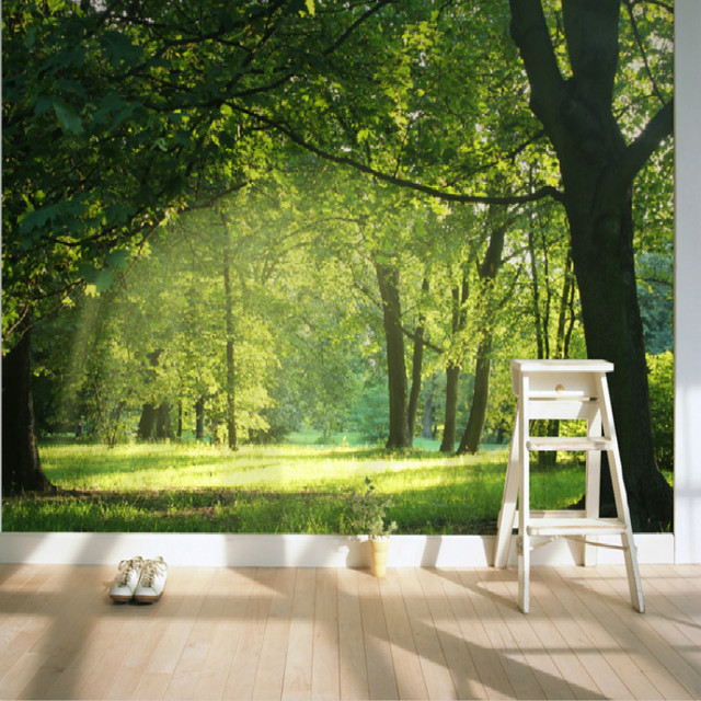 Photo 3d wallpaper for wall 3d mural wallpaper forest for What size tv do i need for a 12x15 room