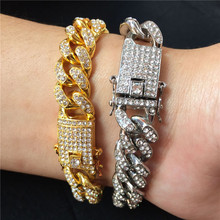 Tready Full Rhinestone Butterfly Miami Buckle Hip Hop Cuban Chain Bracelet Iced Out Bling For Men Women jewelry Dropshipping