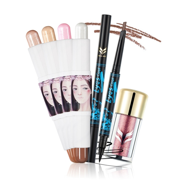 3pcs Makeup Set Glitter Eyeshadow Powder+ Double-headed Eyeliner+ Double-head Trim Bar Maquiagem Make Up Kit Set Gift