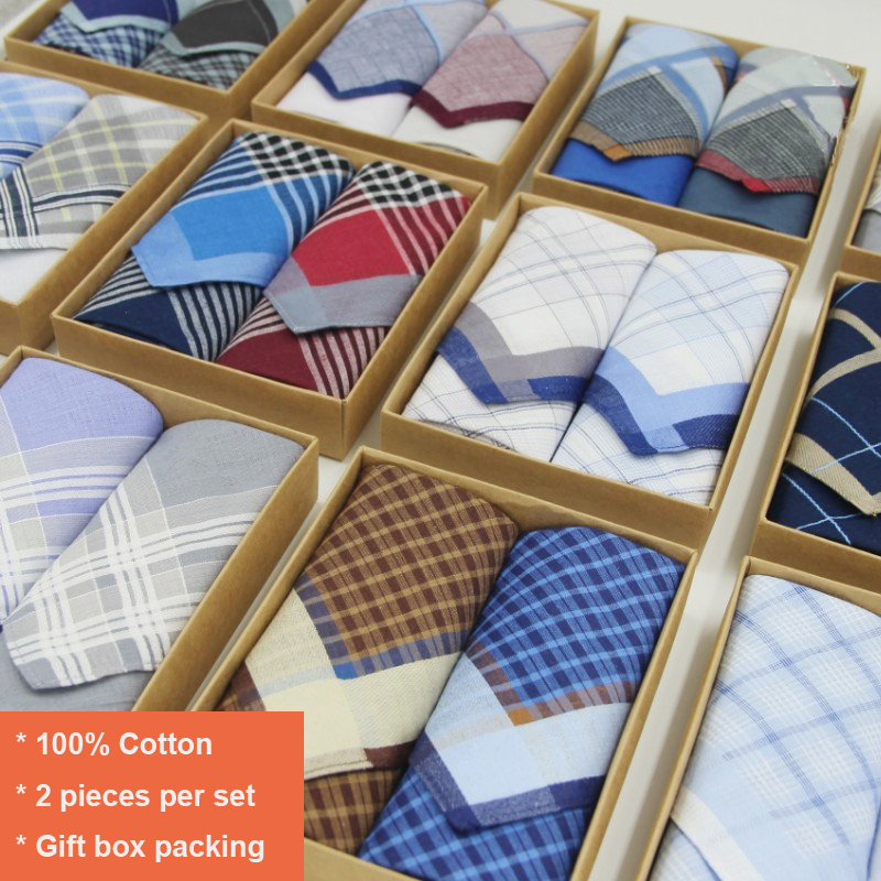 2pcs/set Handkerchiefs Cotton Checked Handkerchief Plaid Checkered Handkerchiefs With Gift Box Packaging