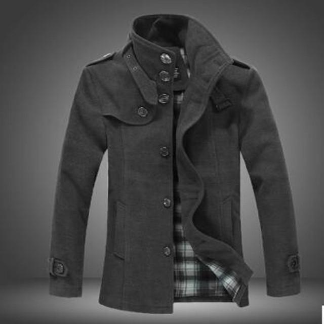 Nueva! 2016 de primavera para hombre del diseño corto cruzado charretera hombres abrigos de lana cazadora