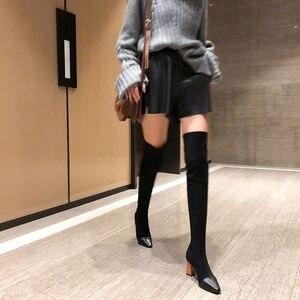 Image 2 - MORAZORA 2020 جديد بوط من الجلد الطبيعي الجلد المدبوغ سميكة عالية الكعب فوق الركبة أحذية النساء أشار تو تمتد الفخذ أحذية عالية