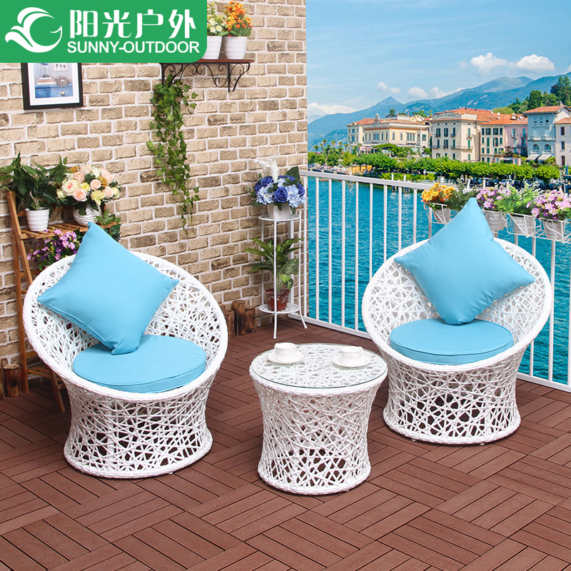 Furniture rattan chair three piece nest sofa leisure rattan table and chair combination in Sun Loungers from Furniture