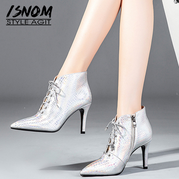 ISNOM High Heels Women Ankle Boots Pointed Toe Lace Up Footwear Print Cow Leather Office Female Boots Shoes Woman Winter 2018