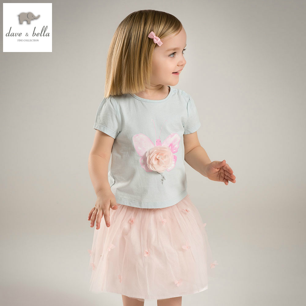 DB4823 dave bella summer baby girls dress infant clothes toddle dress baby flower appliques dress 2pc kids fashionable