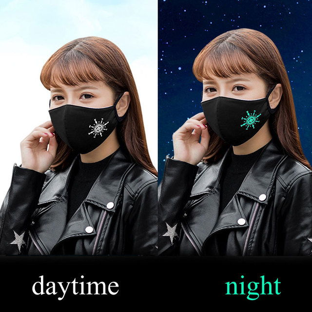 Black Noctilucent Mouth Mask Anti Dust Mask Fashion Cotton Windproof Mouth-muffle  Proof Flu Face Masks Care Reusable 1Pcs 2